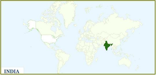 India - Location - World Map