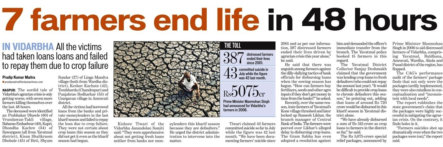 farmer suicides and agrarian distress